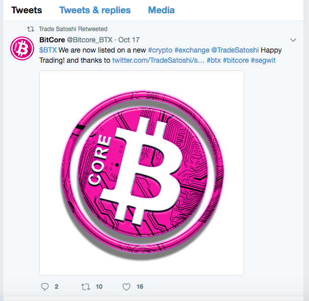Bitcore #BTX lists on Tradesatoshi.com