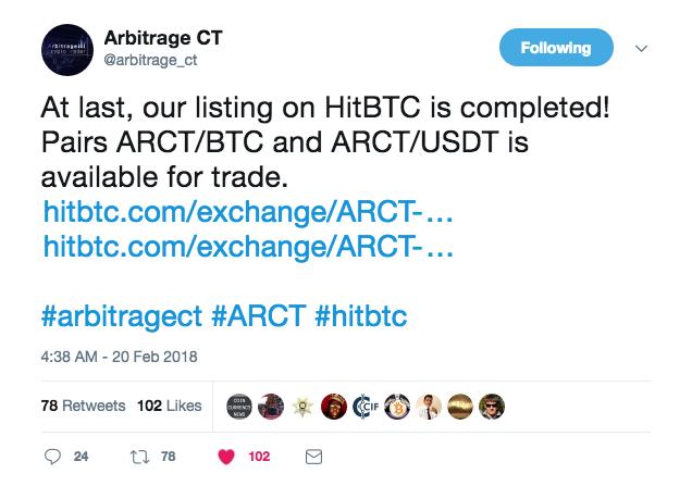 ARCT lists on HitBTC, Opens Beta Platform