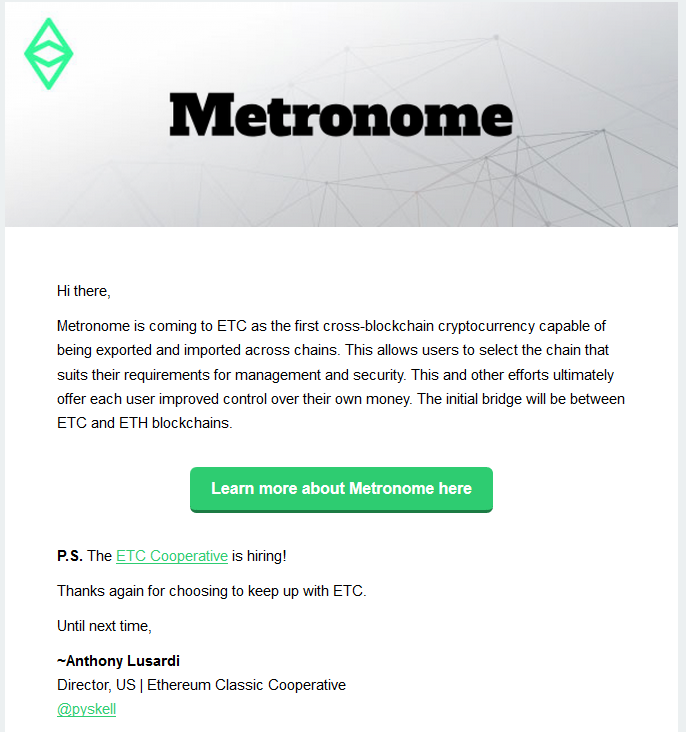 Metronome: ETC / ETH Cross-Chain
